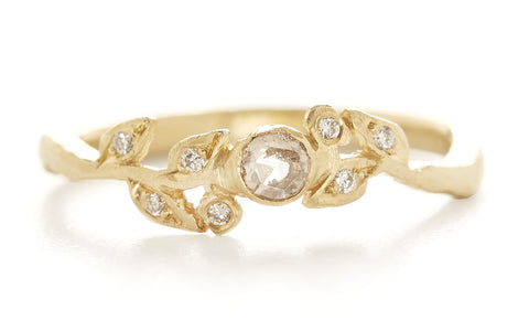 Vine Champagne Diamond Leaf Ring