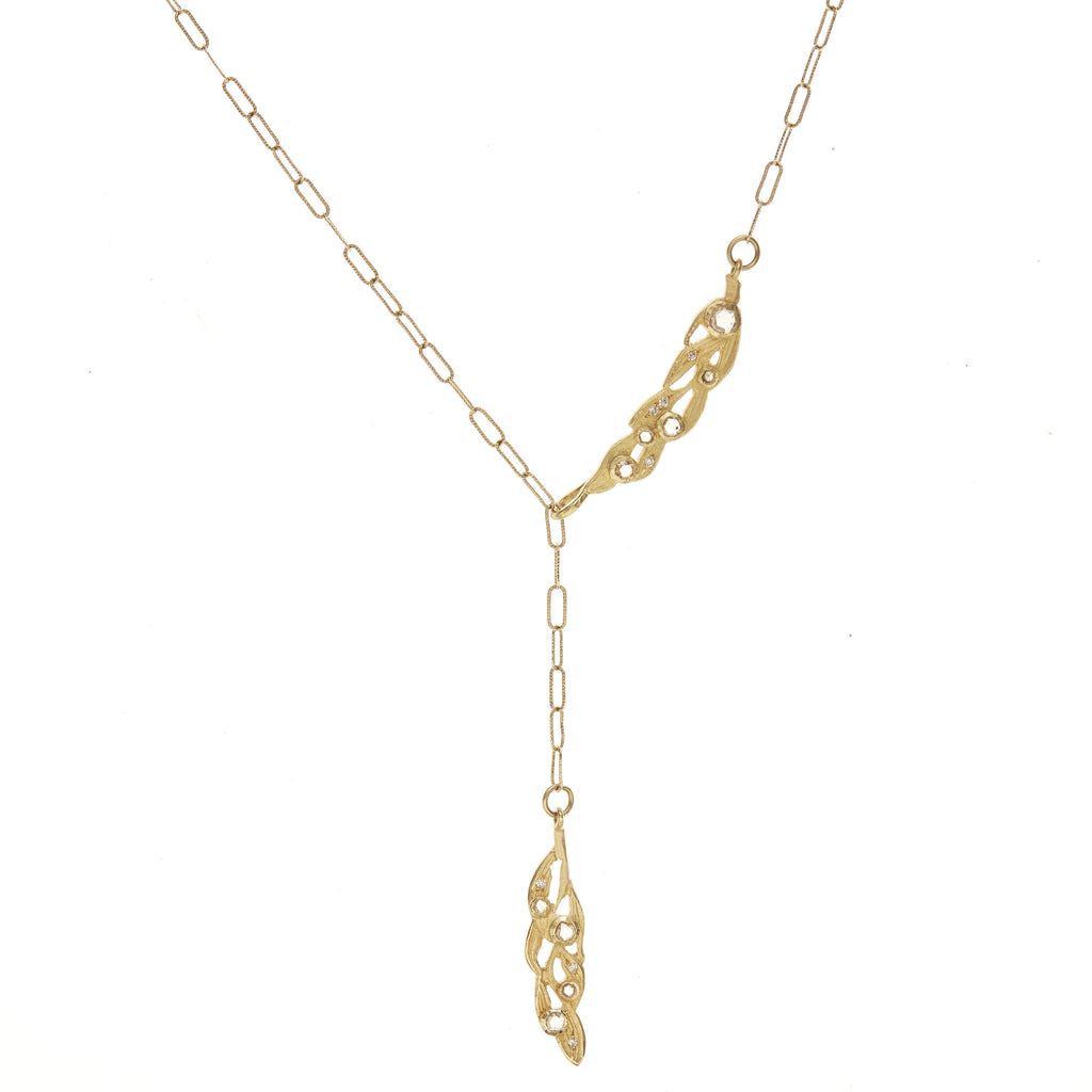Vine Frond Lariat Necklace