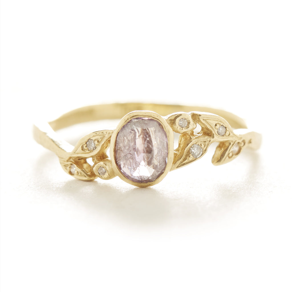 Vine Oval Lavender Diamond Leaf Ring