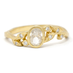 Golden Vine Full Cut Diamond Leaf Ring