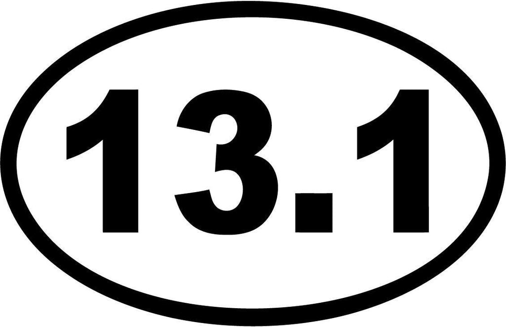 13.1 Half Marathon Euro Oval - Decal - Car and Laptop Window Decal Sticker - 1
