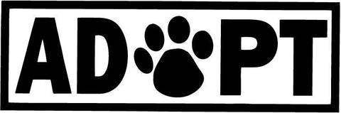 Adopt Dog Cat Animal Adoption Paw Print - Vinyl Car Window and Laptop Decal Sticker