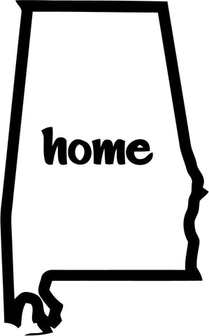 Alabama Home State Outline AL Vinyl Car Window Laptop Decal Sticker