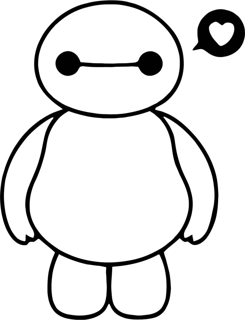Baymax Love Heart Vinyl Car Window Laptop Decal Sticker