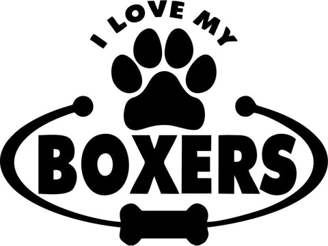 Boxers Dog Paw Bone I Love My - Vinyl Car Window and Laptop Decal Sticker