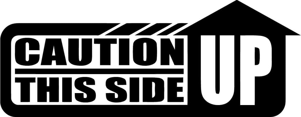 Caution This Side Up Vinyl Car Window Laptop Decal Sticker