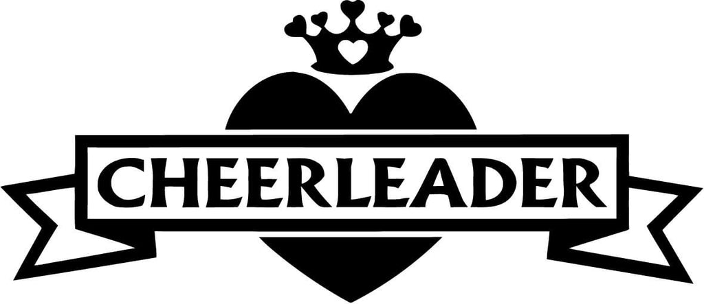 Cheerleader Heart With Crown Vinyl Car Window Laptop Decal Sticker