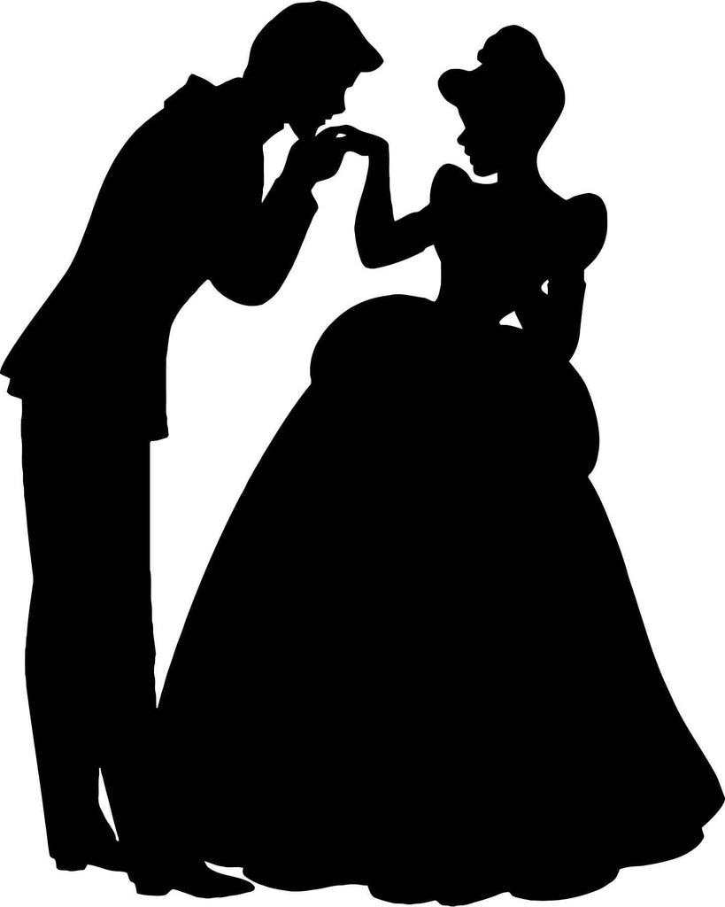Cinderella and Prince Charming - Vinyl Car Window and Laptop Decal Sticker - Decal - Car and Laptop Window Decal Sticker - 1