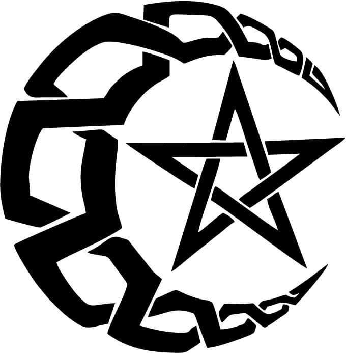 Crescent Moon with Pentacle Star Vinyl Car Window Laptop Decal Sticker
