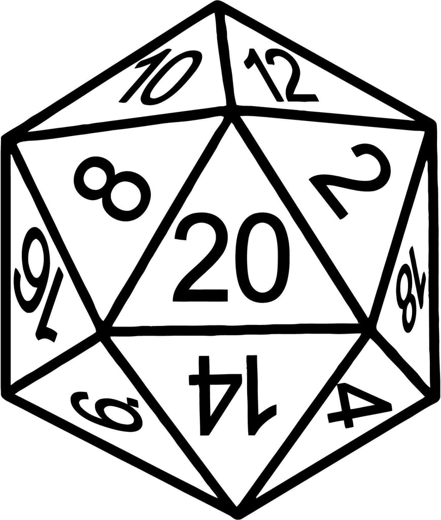 D20 Dice Vinyl Car Window Laptop Decal Sticker