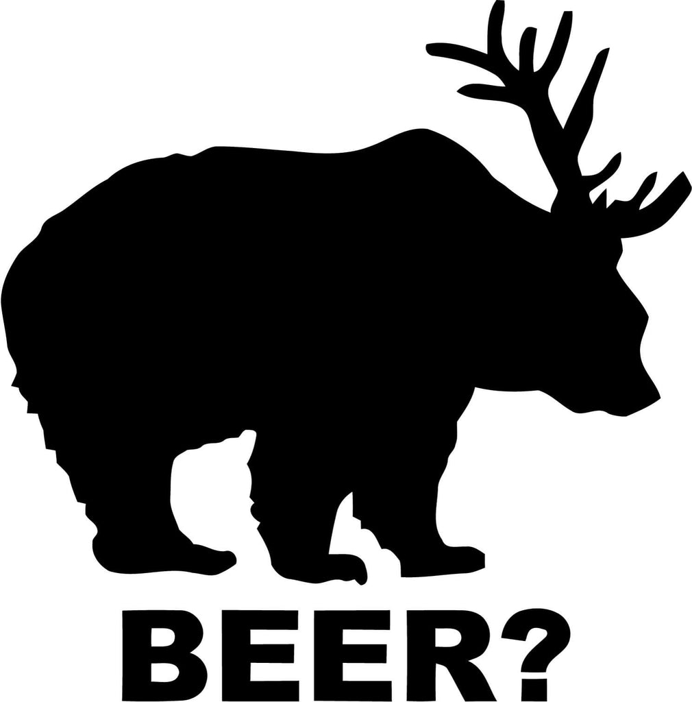 Deer + Bear = BEER Vinyl Car Window Laptop Decal Sticker