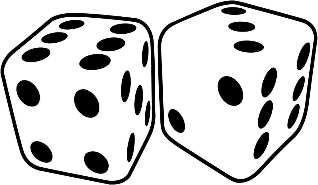 Dice Pair Craps Gambling - Vinyl Car Window and Laptop Decal Sticker - Decal - Car and Laptop Window Decal Sticker - 1