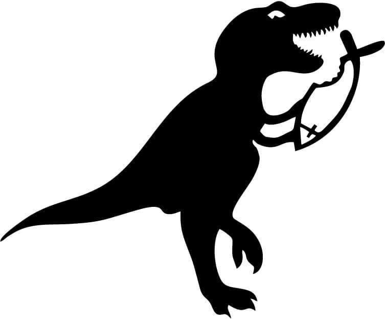 Dinosaur Eats Religious Fish Vinyl Car Window Laptop Decal Sticker