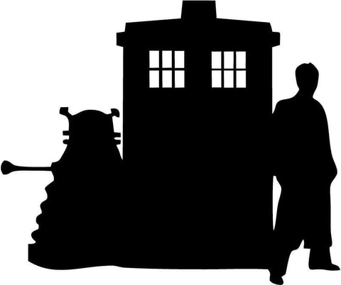 Doctor Who - Sillouette (Tardis, Doctor and Dalek) - Vinyl Car Window and Laptop Decal Sticker