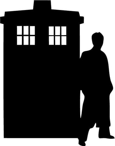 Doctor Who - Silhouette (Tardis and Doctor) - Vinyl Car Window and Laptop Decal Sticker