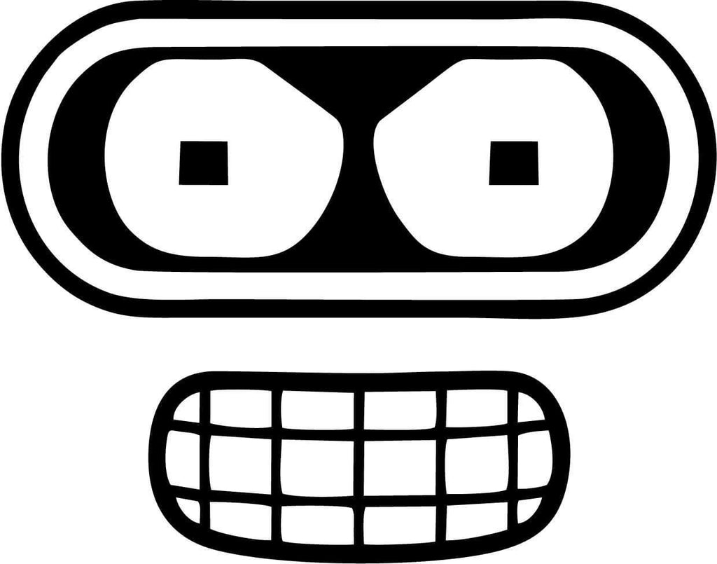 Futurama Bender Face Vinyl Car Window Laptop Decal Sticker