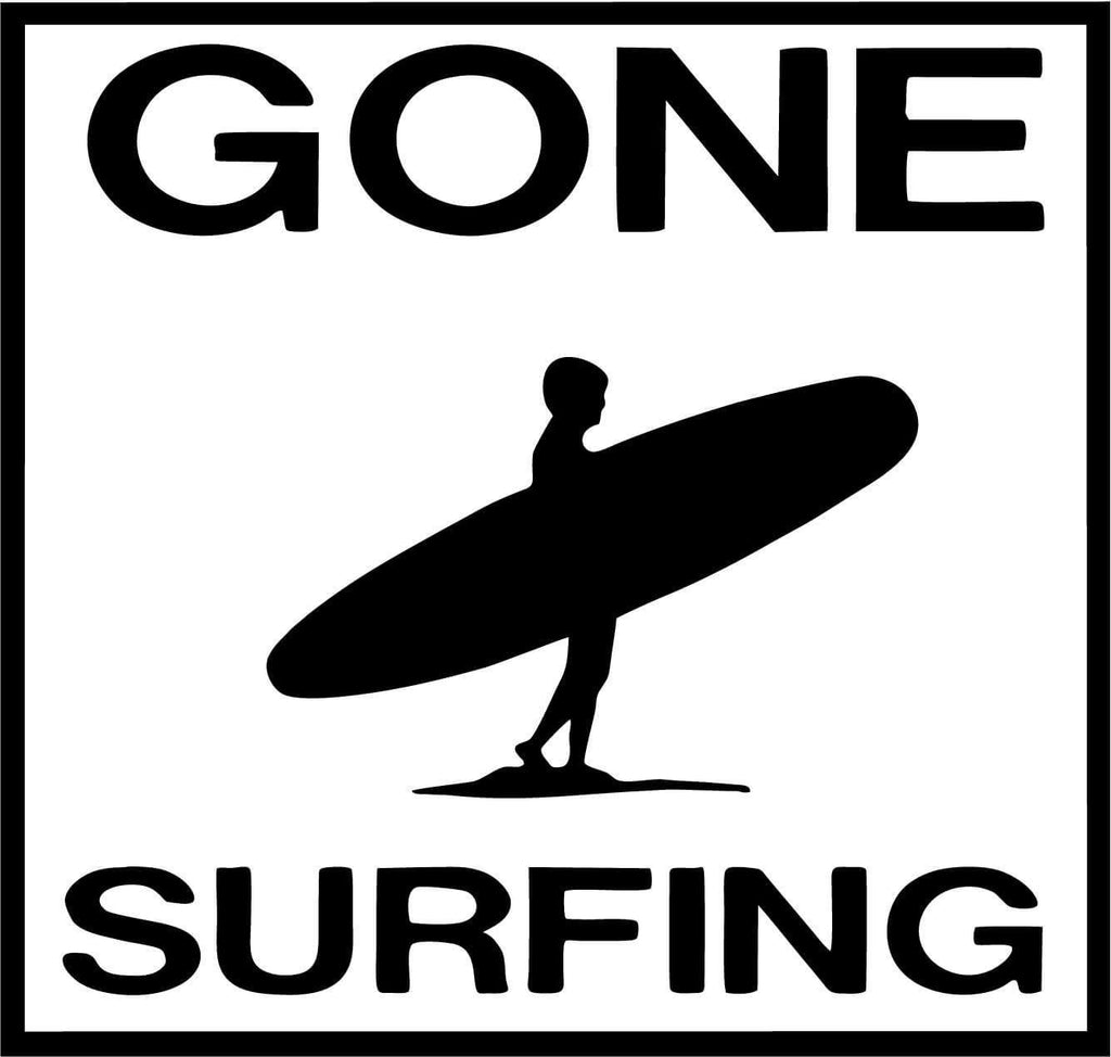 Gone Surfing - Vinyl Car Window and Laptop Decal Sticker - Decal - Car and Laptop Window Decal Sticker - 1