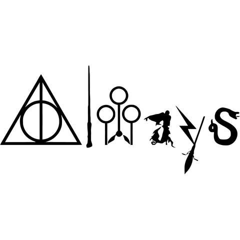 Harry Potter - Always with Symbols - Vinyl Car Window and Laptop Decal Sticker