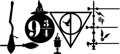 Harry Potter - Love - Broomstick deathly hallows wand sorting hat goblet snitch - Vinyl Car Window and Laptop Decal Sticker