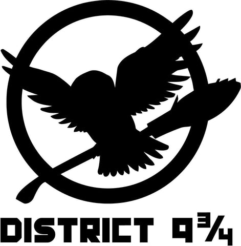Harry Potter and Hunger Games District 9 and 3 quarters Car Window Decal Sticker
