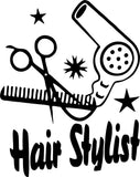 Hair Stylist Hair Dryer with Comb Vinyl Car Window Laptop Decal Sticker