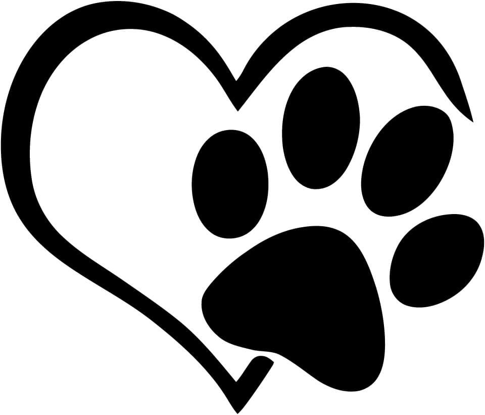 Heart with Paw Variation 2 Vinyl Car Window Laptop Decal Sticker