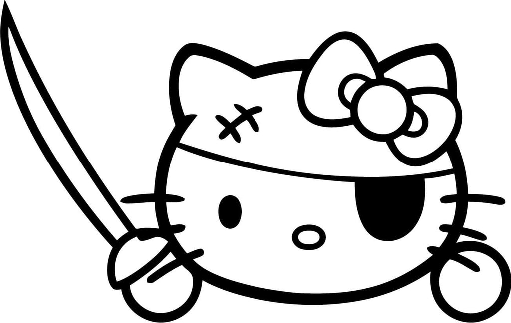 Hello Kitty Pirate Vinyl Car Window Laptop Decal Sticker