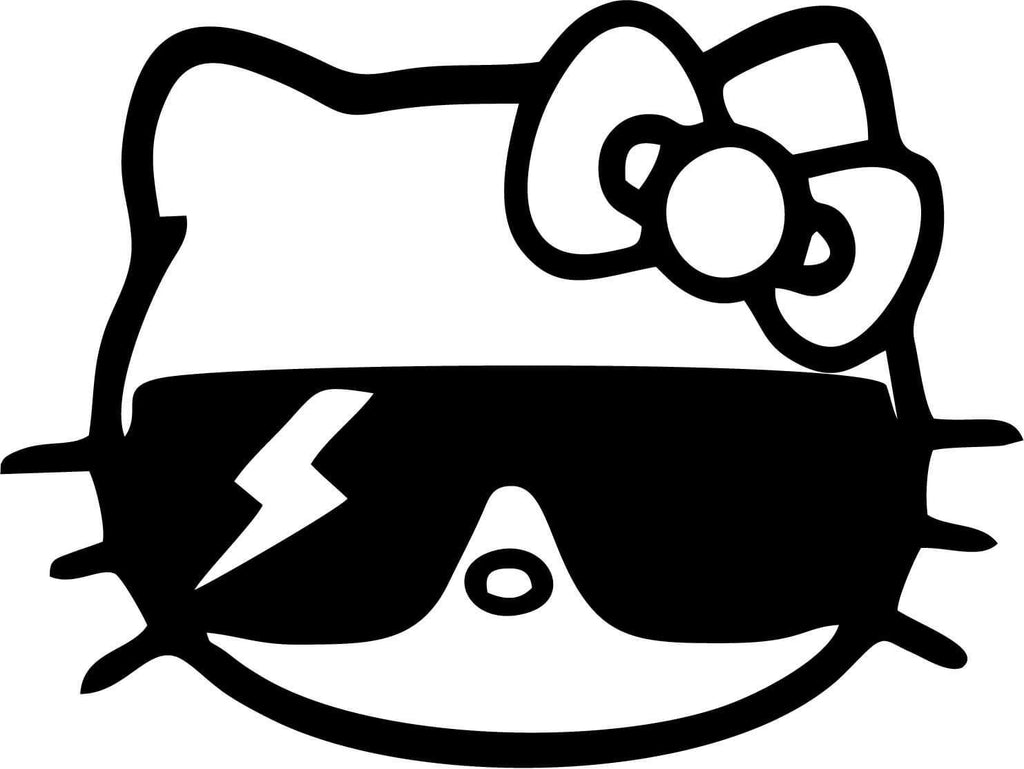 Hello Kitty - Lady Gaga Shades - Vinyl Car Window and Laptop Decal Sticker - Decal - Car and Laptop Window Decal Sticker - 1