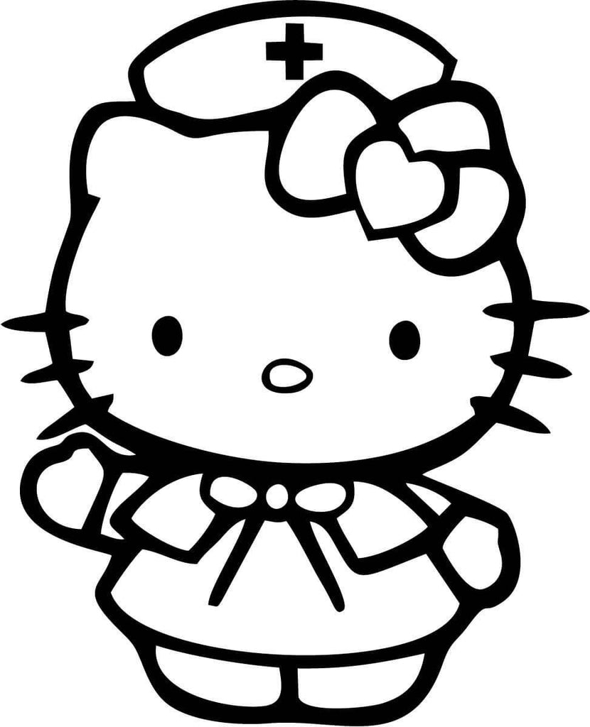 Hello Kitty Nurse Vinyl Car Window Laptop Decal Sticker