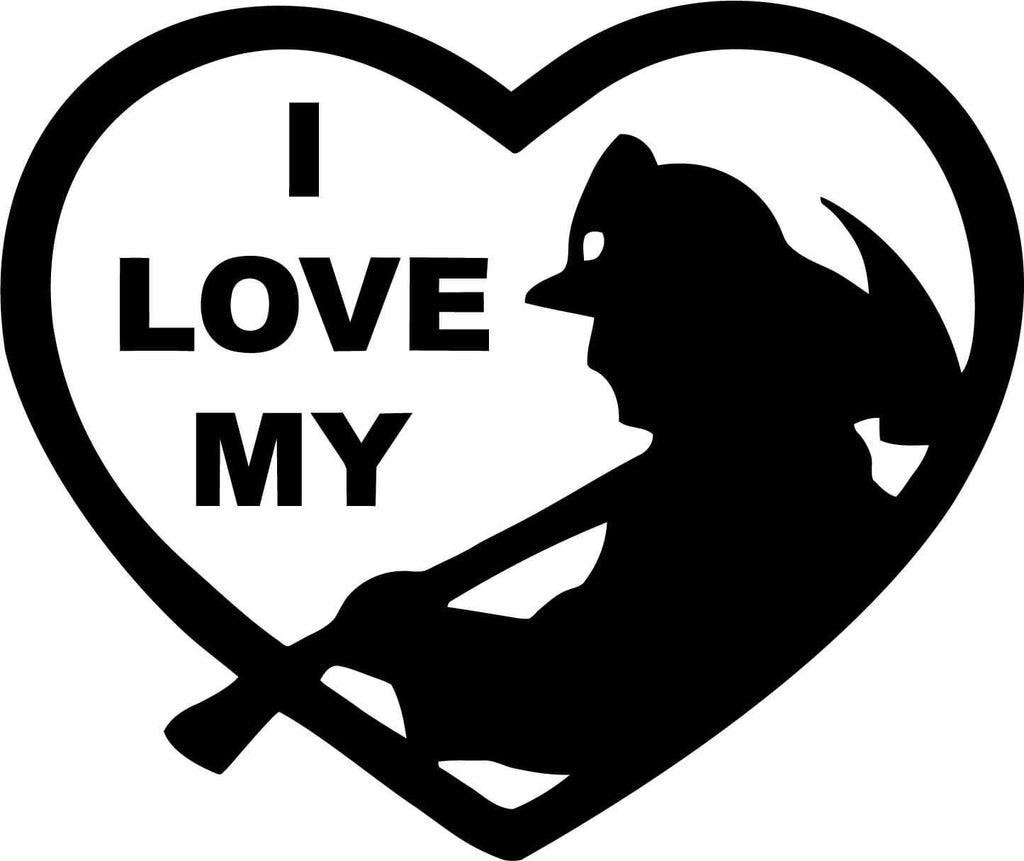 I Love My Firefighter Vinyl Car Window Laptop Decal Sticker