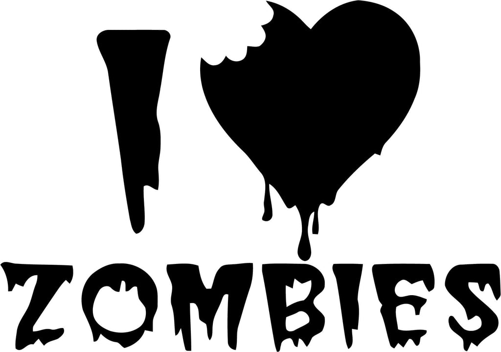 I Love Zombies Vinyl Car Window Laptop Decal Sticker