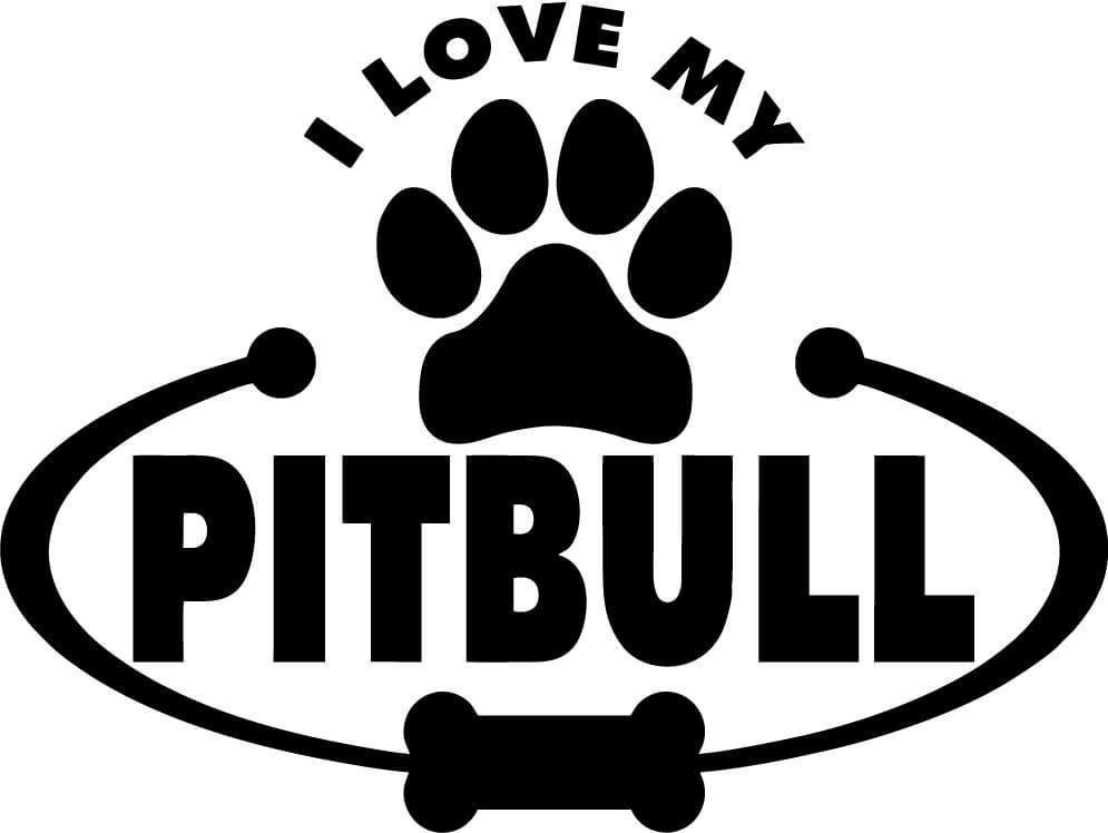 I Love My Pitbull Vinyl Car Window Laptop Decal Sticker