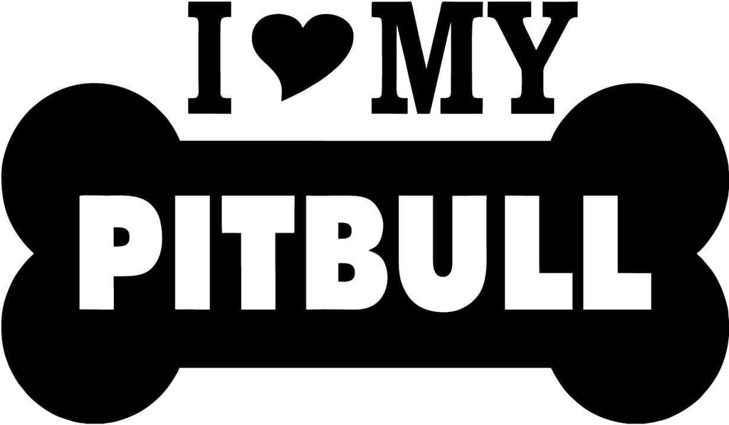 I Love My Pitbull Dog With Bone - Vinyl Car Window and Laptop Decal Sticker - Decal - Car and Laptop Window Decal Sticker - 1