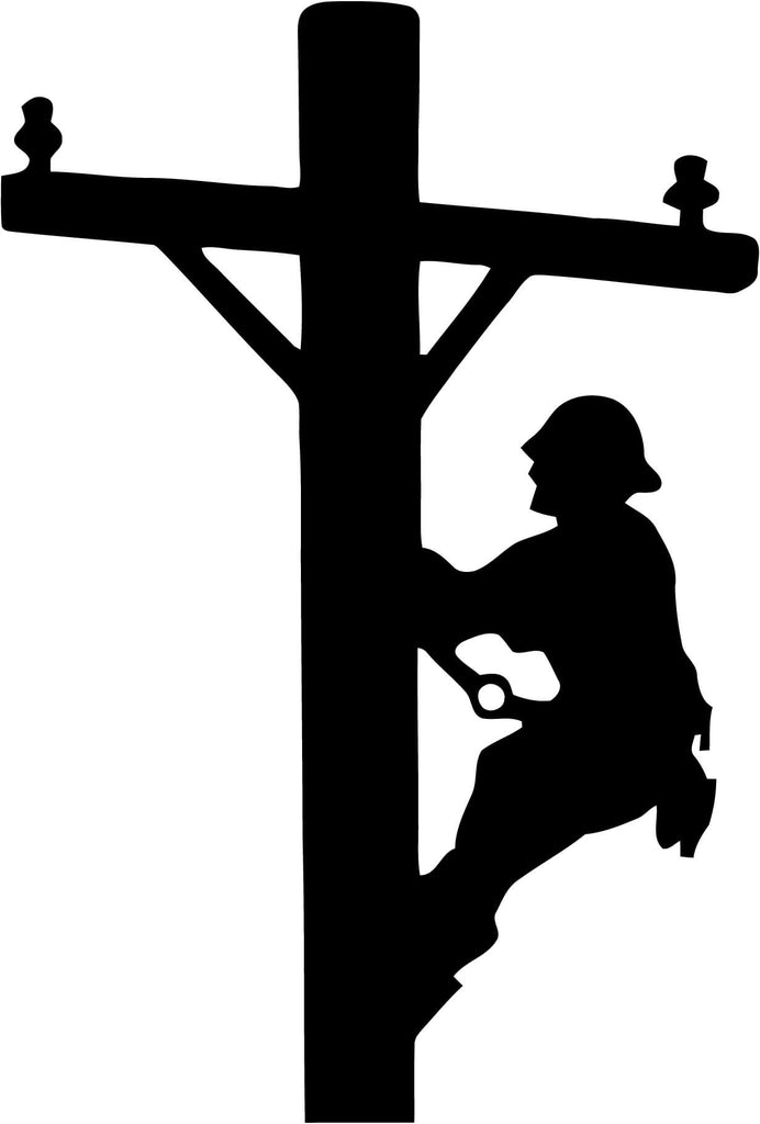 Lineman cable worker Vinyl Car Window Laptop Decal Sticker