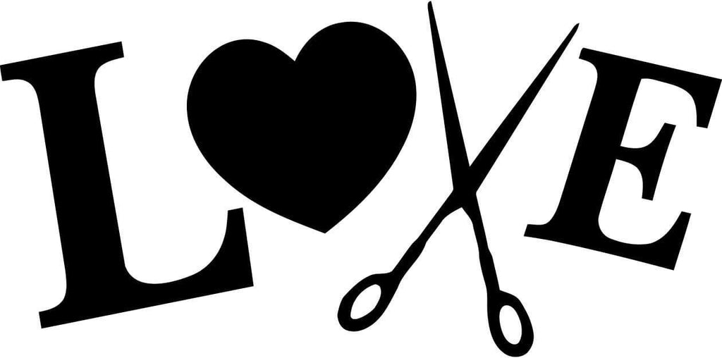 Love Heart Hair Scissors Vinyl Car Window Laptop Decal Sticker