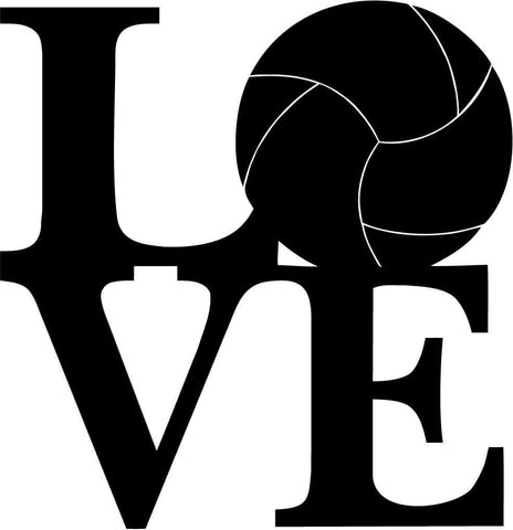 Love volleyball Square Vinyl Car Window Laptop Decal Sticker