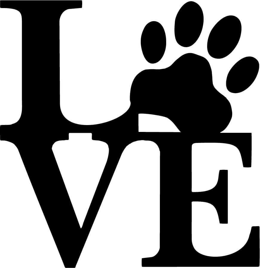 Love with Dog Paw Print Vinyl Car Window Laptop Decal Sticker