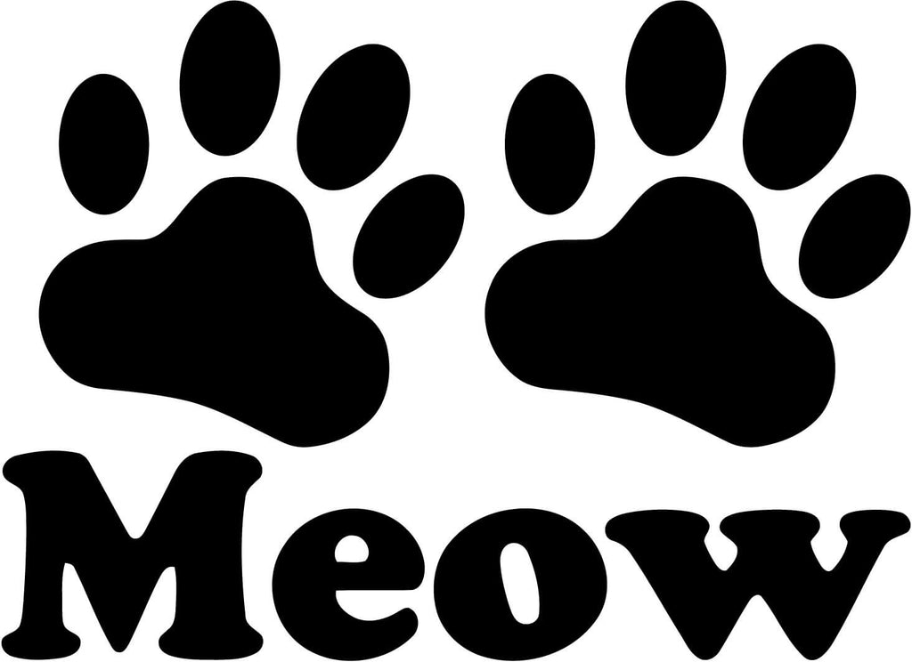 Meow Paw Print Cat kitty love pet animal Vinyl Car Window Laptop Decal Sticker