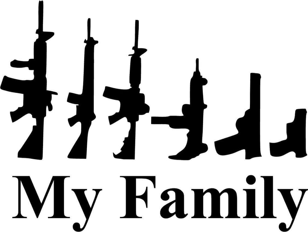 My Family Assault Rifle & Handguns Vinyl Car Window Laptop Decal Sticker