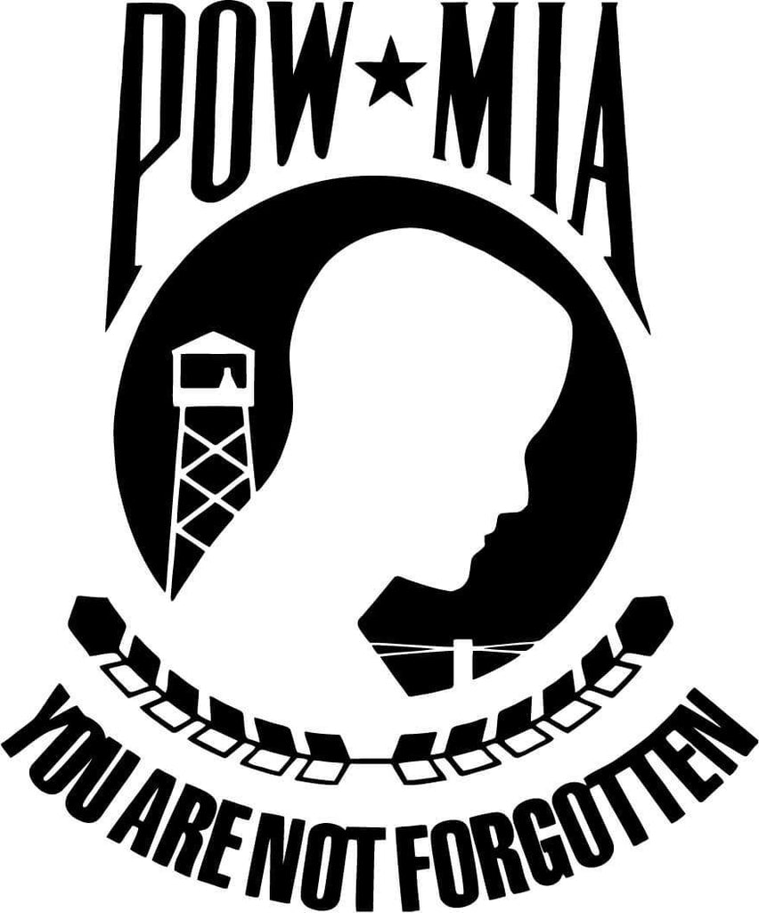 Pow Mia You are not forgotten Vinyl Car Window Laptop Decal Sticker
