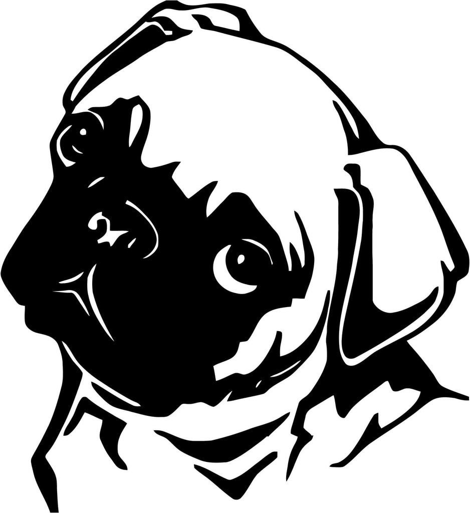 Pug Face Vinyl Car Window Laptop Decal Sticker