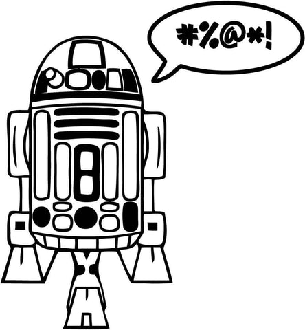 Star Wars - R2D2 - Cursing Droid - Vinyl Car Window and Laptop Decal Sticker