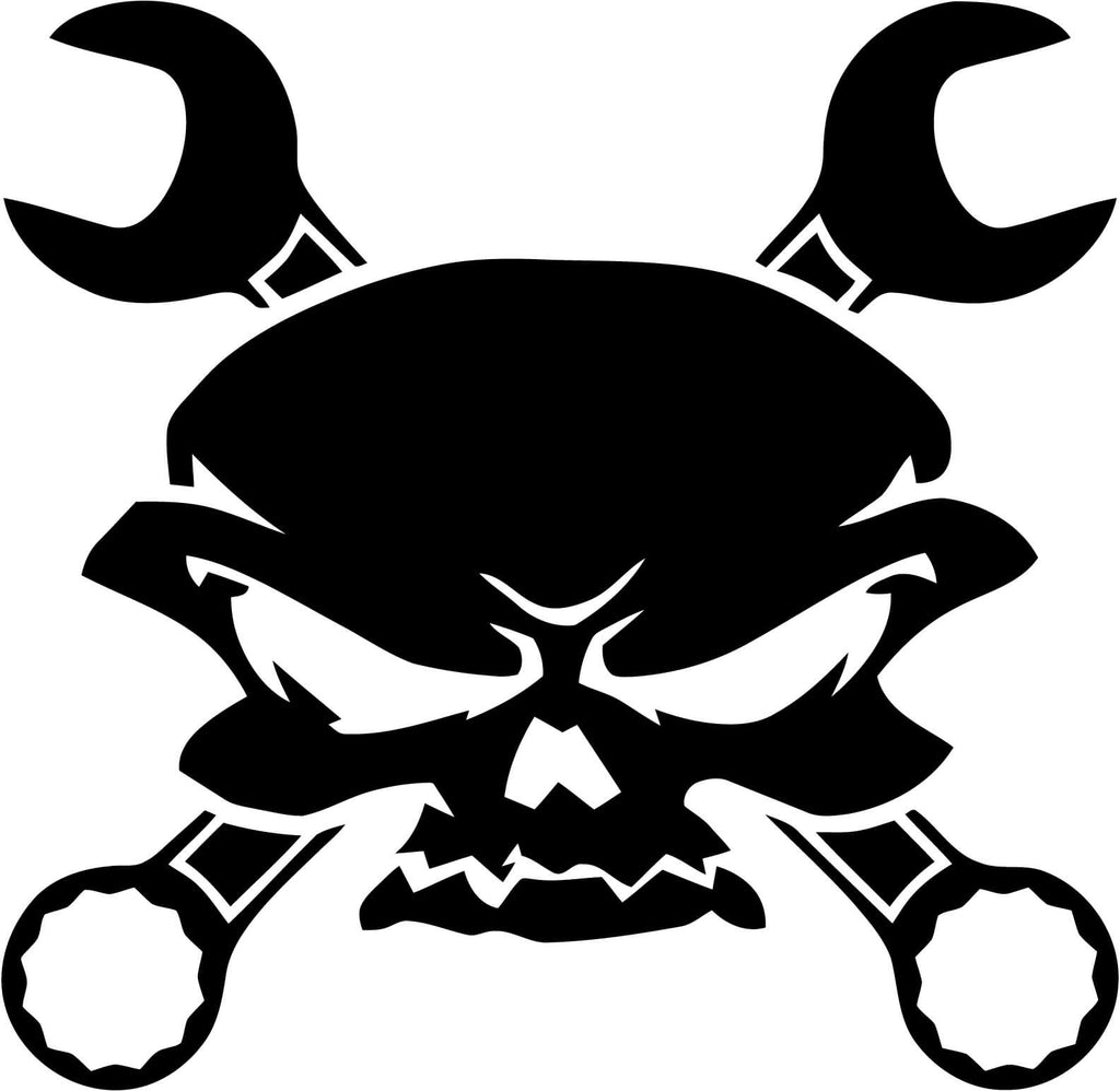 Skull Wrench Crossbones Vinyl Car Window Laptop Decal Sticker