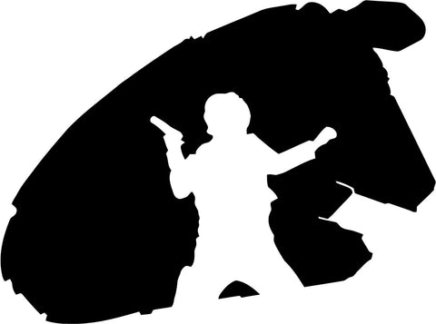 Star Wars - Millenium Falcon Han Solo - Vinyl Car Window and Laptop Decal Sticker