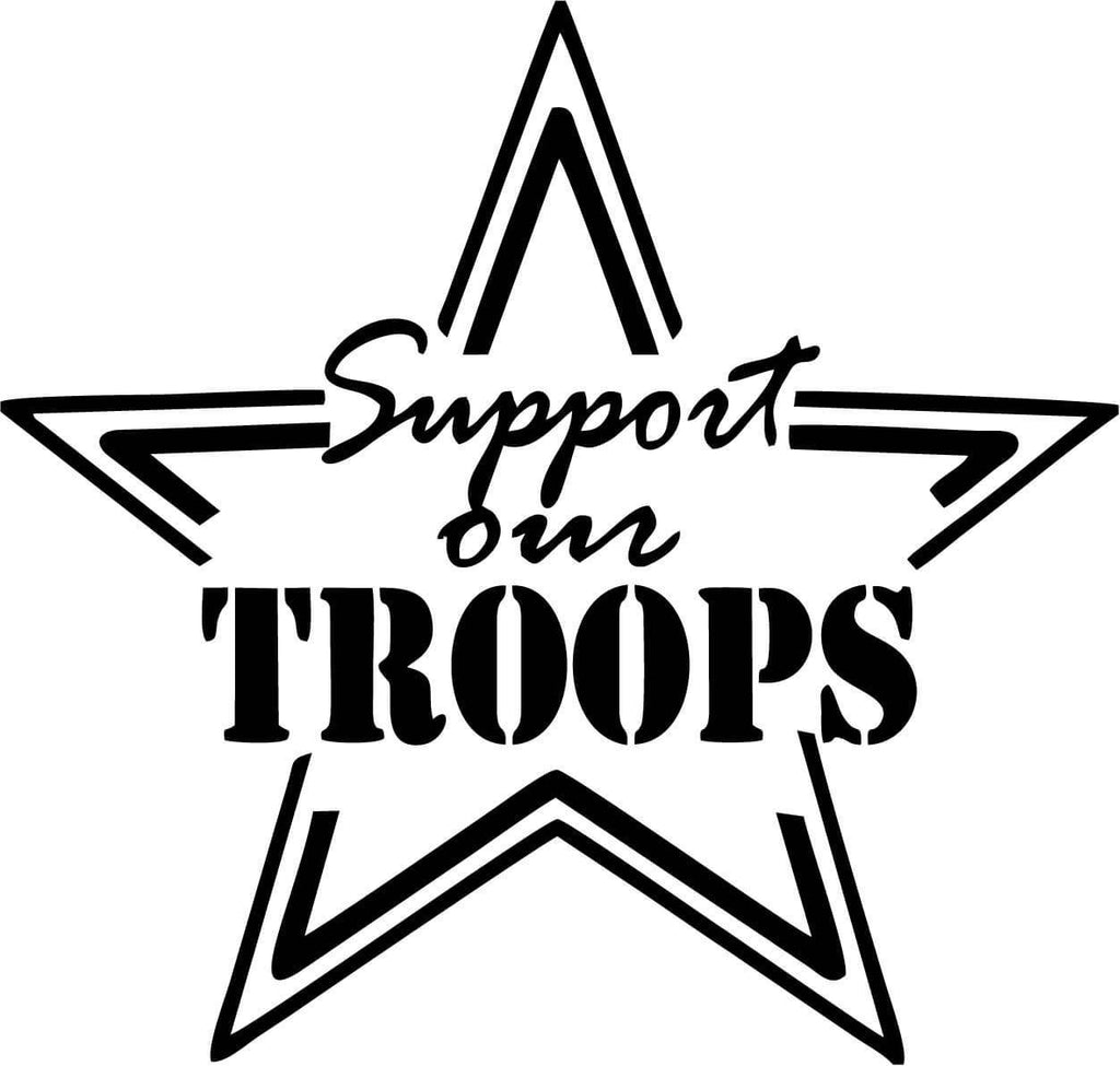 Support our Troops Star Vinyl Car Window Laptop Decal Sticker