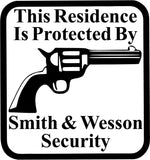 This Residence Is Protected By Smith & Wesson Security Car Window Decal Sticker