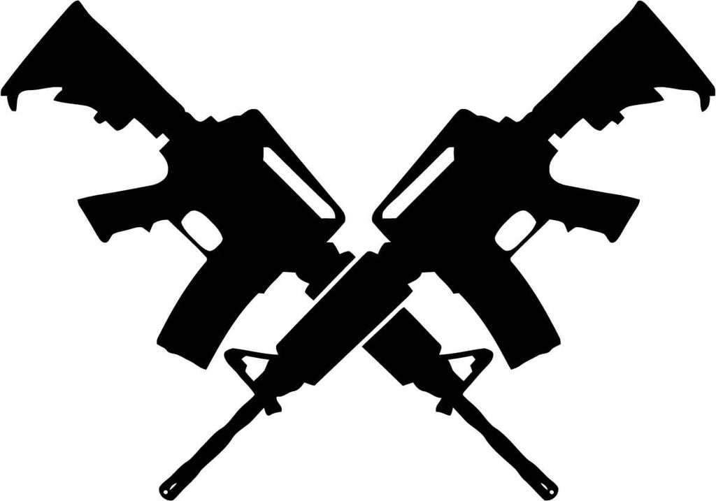 Two AR15's Crossed Vinyl Car Window Laptop Decal Sticker