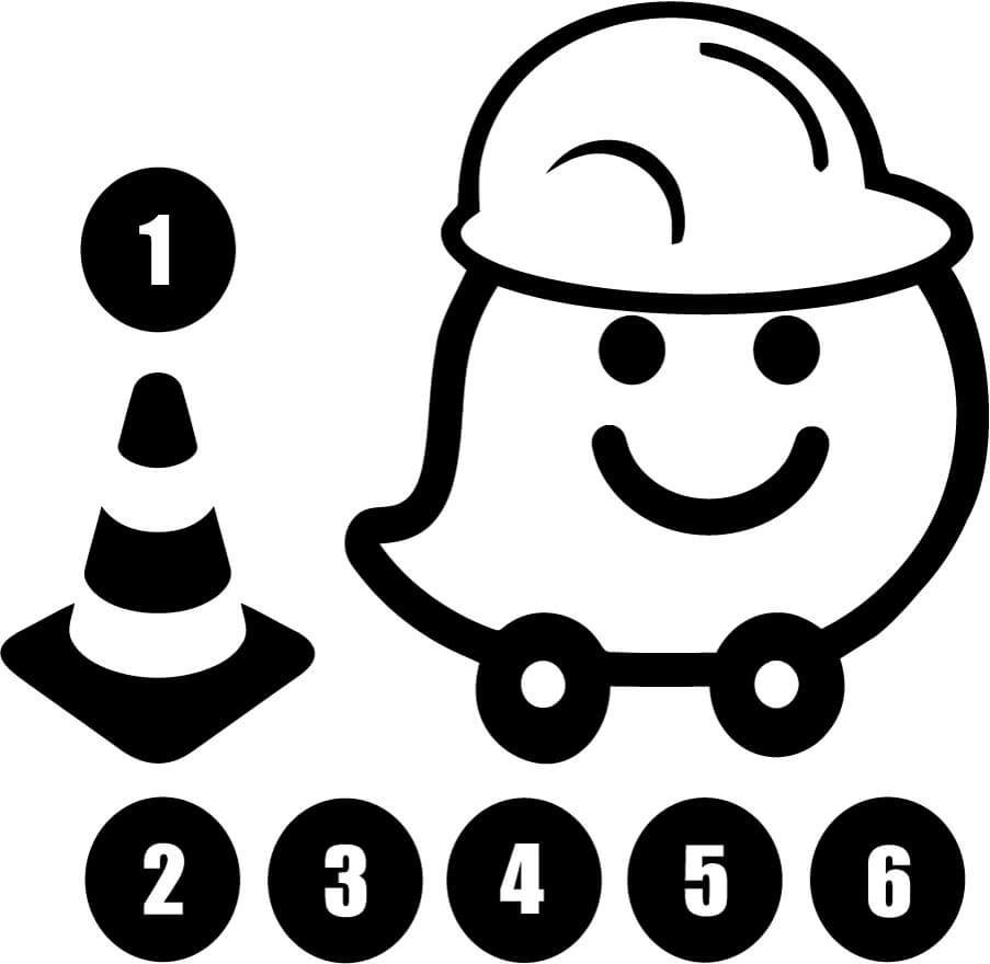 Waze with Hardhat Cone and Circles Vinyl Car Window Laptop Decal Sticker