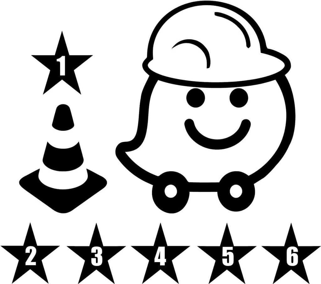 Waze with Hardhat Cone and Stars Vinyl Car Window Laptop Decal Sticker