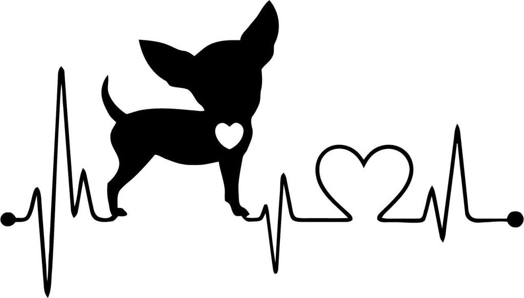 Chihuahua Heartbeat Vinyl Car Window Laptop Decal Sticker